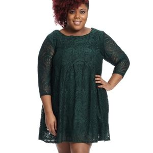 Pleated Front Lace Dress